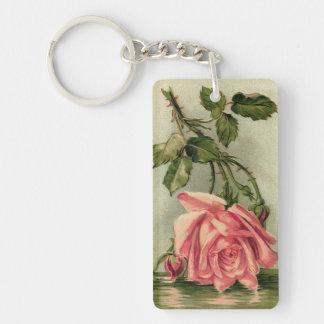 Vintage Pink Rose Upside Down in Water Keychain