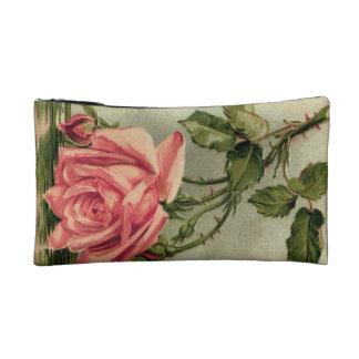 Vintage Pink Rose Upside Down in Water Makeup Bag