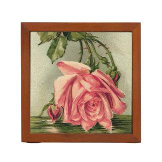 Vintage Pink Rose Upside Down in Water Pencil Holder