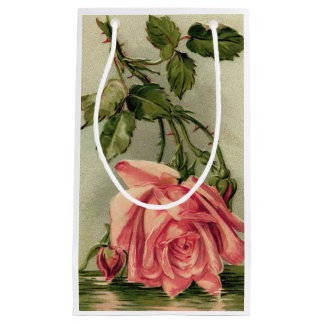 Vintage Pink Rose Upside Down in Water Small Gift Bag