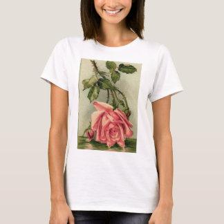 Vintage Pink Rose Upside Down in Water T-Shirt