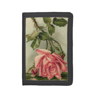 Vintage Pink Rose Upside Down in Water Trifold Wallets