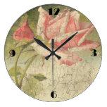 Vintage Pink Rose Wall Clock