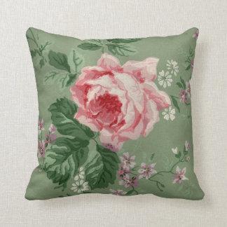 Vintage Pink Rose Wallpaper Throw Pillows