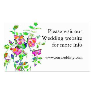 Vintage pink rose wedding card business card