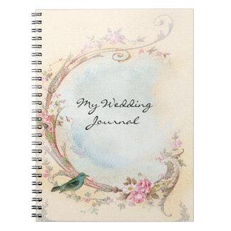 Vintage Pink Rose Wedding Journal Spiral Note Book