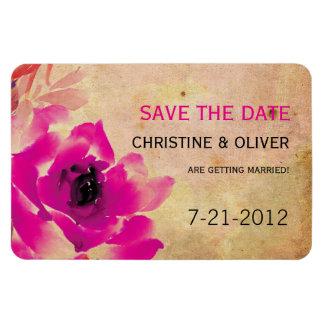 Vintage Pink Rose Wedding Magnet