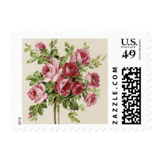 Vintage Pink Rose Wedding Postage