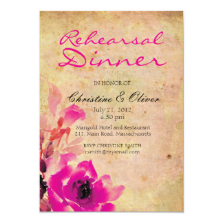 Vintage Pink Rose Wedding Rehearsal Dinner Card