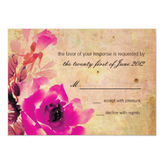 Vintage Pink Rose Wedding RSVP Response Card