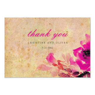 Vintage Pink Rose Wedding Thank You Card