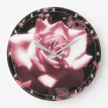 Vintage Pink Rose White Ribbon Large Clock