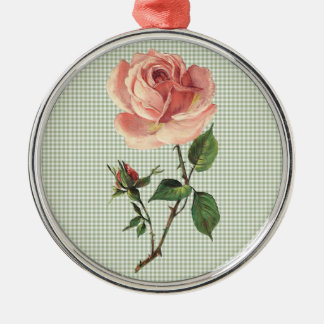 Vintage Pink Rose with Sage Green Gingham Metal Ornament