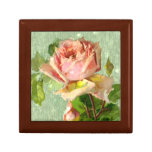 Vintage Pink Rose Wooden Jewelry Box