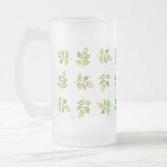 Vintage Pink Rosebuds Frosted Glass Mug
