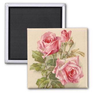 Vintage Pink Roses 2 Inch Square Magnet