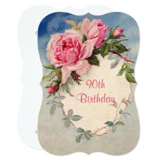 Vintage, Pink Roses, 90th Birthday, Invitation