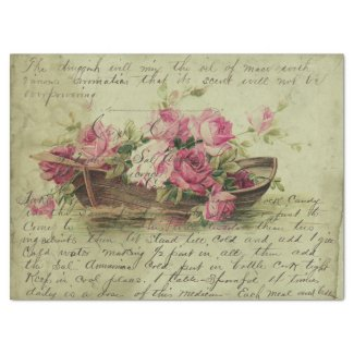 Vintage Pink Roses and Boat Decoupage Tissue Paper