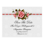 Vintage Pink Roses and Damask Print Save The Date Postcard