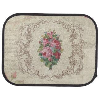 Vintage Pink Roses and Engraved Frame Car Mat
