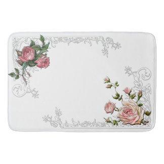 Vintage Pink Roses and Engraved Leafy Border Bathroom Mat