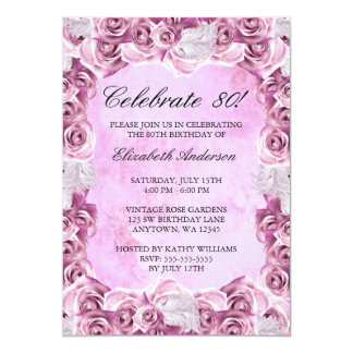 Vintage Pink Roses and Feather 80th Birthday Card