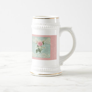 Vintage Pink Roses and French Writing 18 Oz Beer Stein