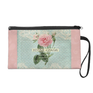 Vintage Pink Roses and French Writing Wristlet