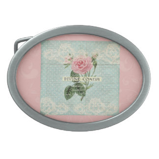 Vintage Pink Roses and French Writing Oval Belt Buckle