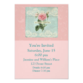 Vintage Pink Roses and French Writing Card