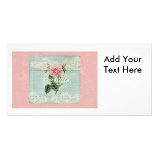 Vintage Pink Roses and French Writing Photo Cards
