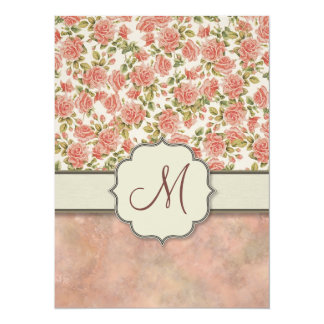 Vintage Pink Roses and Marble with Monogram Card