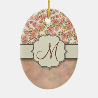 Vintage Pink Roses and Marble with Monogram Ceramic Ornament
