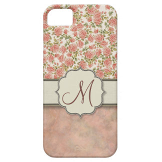 Vintage Pink Roses and Marble with Monogram iPhone SE/5/5s Case