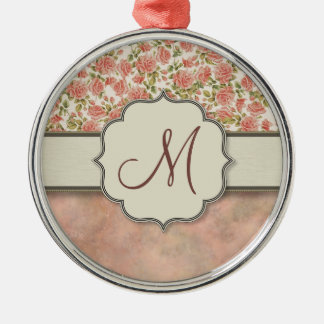 Vintage Pink Roses and Marble with Monogram Metal Ornament