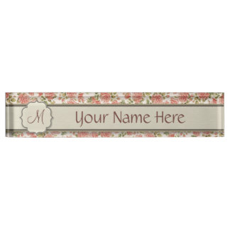 Vintage Pink Roses and Marble with Monogram Name Plates