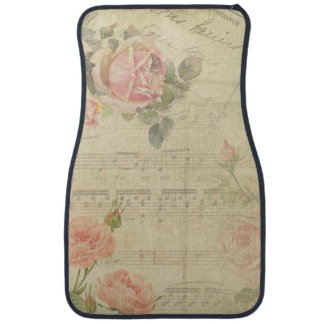 Vintage Pink Roses and Music Collage Car Mat