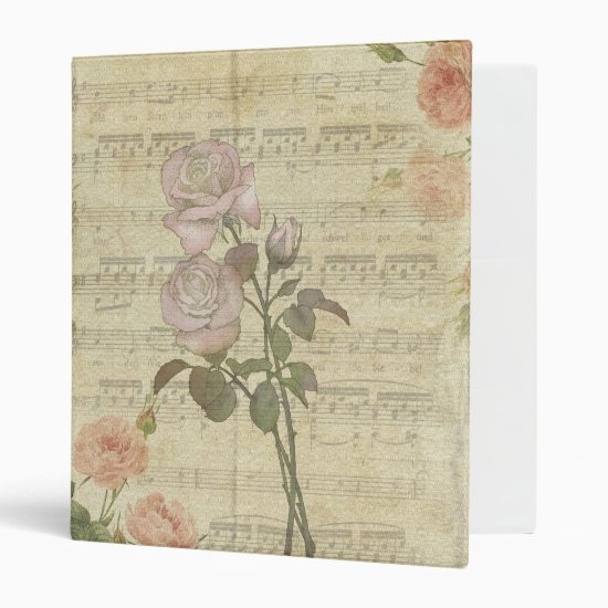 Vintage Pink Roses and Music Score 3 Ring Binder