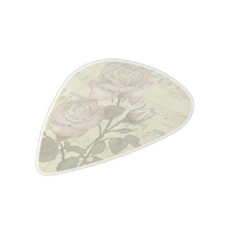 Vintage Pink Roses and Music Score Acetal Guitar Pick