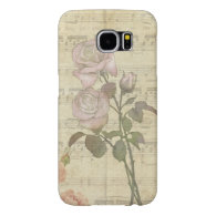 Vintage Pink Roses and Music Score Samsung Galaxy S6 Cases