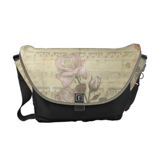 Vintage Pink Roses and Music Score Courier Bag
