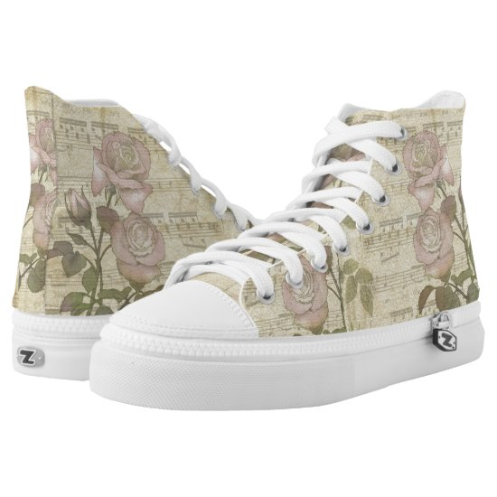 Vintage Pink Roses and Music Score High-Top Sneakers