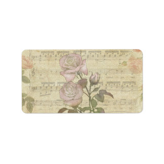 Vintage Pink Roses and Music Score Label