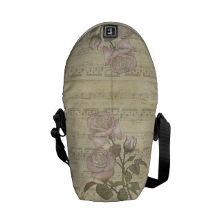 Vintage Pink Roses and Music Score Messenger Bag