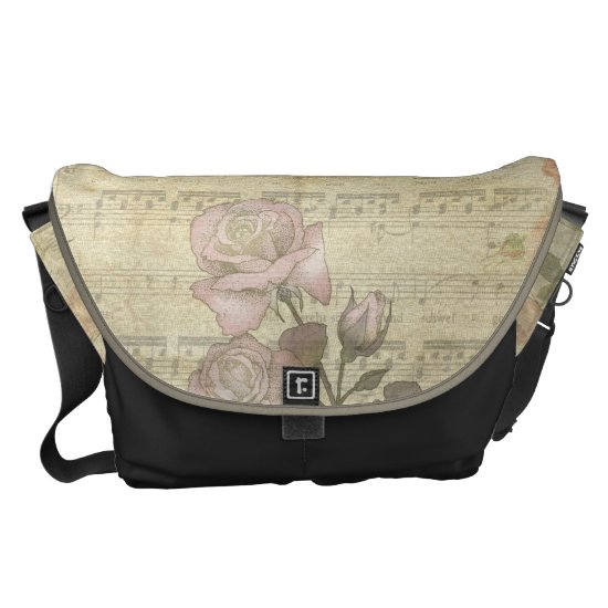 Vintage Pink Roses and Music Score Messenger Bag