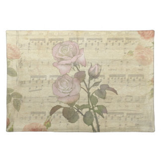 Vintage Pink Roses and Music Score Placemat
