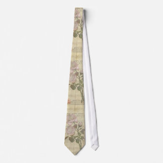 Vintage Pink Roses and Music Score Tie