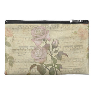 Vintage Pink Roses and Music Score Travel Accessory Bags