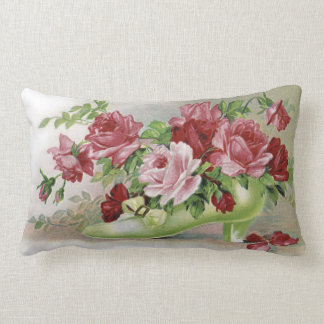 Vintage Pink Roses and Shoe Throw Pillow
