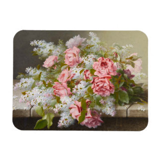 Vintage Pink Roses and White Lilacs Magnet